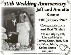 50th Wedding Anniversary Jeff and Annette Keune 14th January 1967 Congratulations and Best Wishes Bi...