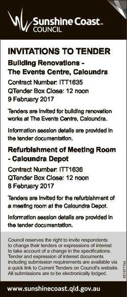 INVITATIONS TO TENDER Building Renovations The Events Centre, Caloundra Contract Number: ITT1635 QTe...