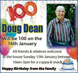 Doug Dean All friends & relatives welcome at the house Sunday 15th January between 10am-3pm for...