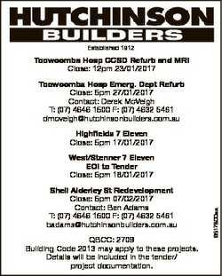 Established 1912 Toowoomba Hosp CCSD Refurb and MRI Close: 12pm 23/01/2017 Toowoomba Hosp Emerg. Dep...