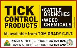 PRODUCTS *CATTLE DrENCHES *WEED CHEMICALS 6517845aa TICK CONTROL All available from ToM GrADy C.r.T....