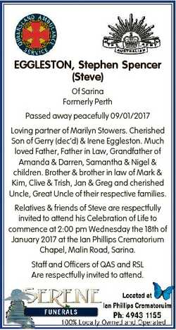 EGGLESTON, Stephen Spencer (Steve) Of Sarina Formerly Perth Passed away peacefully 09/01/2017 Loving...