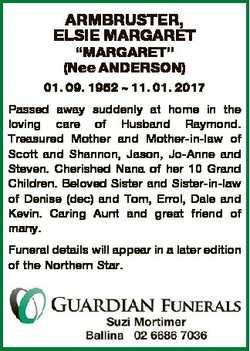 "ARMBRUSTER, ELSIE MARGARET ""MARGARET"" (Nee ANDERSON) 01. 09. 1952  11. 01. 2017 Passed awa..."