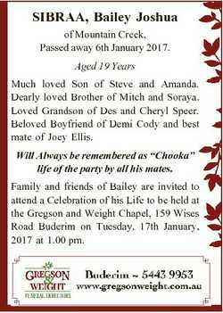 SIBRAA, Bailey Joshua of Mountain Creek, Passed away 6th January 2017. Aged 19 Years Much loved Son...