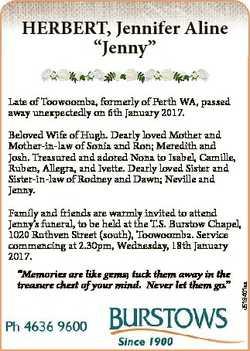 """HERBERT, Jennifer Aline """"Jenny"""" Late of Toowoomba, formerly of Perth WA, passed away unexp..."""