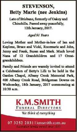 STEVENSON, Betty Marie (nee Jenkins) Late of Brisbane, formerly of Oakey and Chinchilla. Passed away...