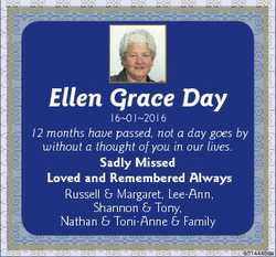 Ellen Grace Day 16012016 12 months have passed, not a day goes by without a thought of you in our li...