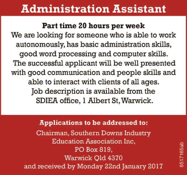 Position Vacant Administration Assistant Part time 20 hours per week We are looking for someone w...