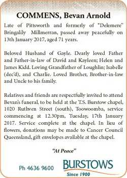 """COMMENS, Bevan Arnold Late of Pittsworth and formerly of """"Delemere"""" Bringalily Millmerran,..."""