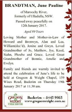 BRANDTMAN, June Pauline of Maroochy River, formerly of Ulladulla, NSW. Passed away peacefully on 12t...