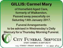 GILLIS: Carmel Mary of Homefield Aged Care, formerly of Walkerston. Passed away peacefully on Saturd...