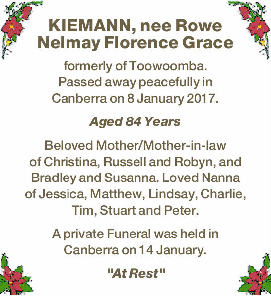 KIEMANN, nee Rowe Nelmay Florence Grace 