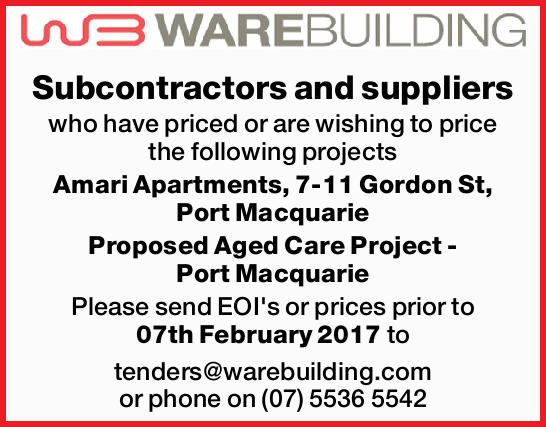Subcontractors and suppliers who have priced or are wishing to price the following projects Amari...