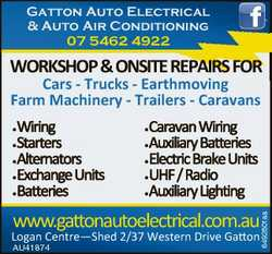 Gatton Auto Electrical & Auto Air Conditioning 07 5462 4922 WORKSHOP&ONSITEREPAIRSFOR Car...