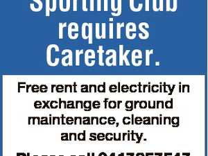 Sporting Club requires Caretaker. Free rent and electricity in exchange for ground maintenance, cleaning and security. Please call 0417857547