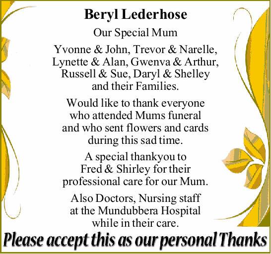 Our Special Mum Yvonne & John, Trevor & Narelle, Lynette & Alan, Gwenva & Arthur,...