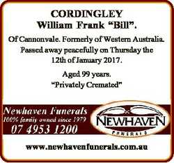 """CORDINGLEY William Frank """"Bill"""". Of Cannonvale. Formerly of Western Australia. Passed away..."""