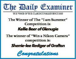 "The Winner of The ""I am Summer"" Competition is: Kellie Beer of Glenugie The winner of &quo..."