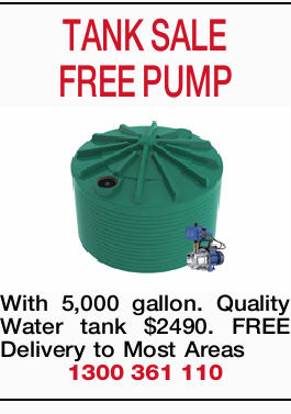 TANK SALE FREE PUMP With 5,000 gallon. Quality Water tank $2490. FREE Delivery to Most Areas