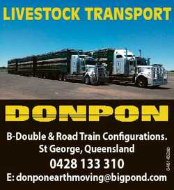 LIVESTOCK TRANSPORT 0428 133 310 6461432ab B-Double & Road Train Configurations. St George, Quee...