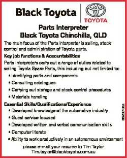 Black Toyota Parts Interpreter Black Toyota Chinchilla, QLD 6520010aa The main focus of the Parts In...