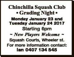 Chinchilla Squash Club * Grading Night * Monday January 23 and Tuesday January 24 2017 Starting 6pm...