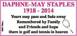 6521135aa DAPHNE-MAY STAPLES 1918 - 2014 Years may pass and fade away y Remembered by Family and Fri...