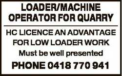 LOADER/MACHINE OPERATOR FOR QUARRY HC LICENCE AN ADVANTAGE FOR LOW LOADER WORK Must be well presente...