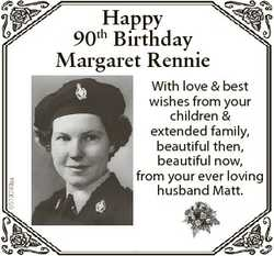 6519089aa Happy 90th Birthday Margaret Rennie With love & best wishes from your children & e...