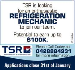 TSR is looking for an enthusiastic Refrigeration Mechanic to join our team. 