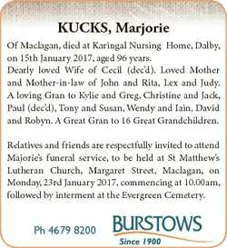 KUCKS, Marjorie Of Maclagan, died at Karingal Nursing Home, Dalby, on 15th January 2017, aged 96 yea...