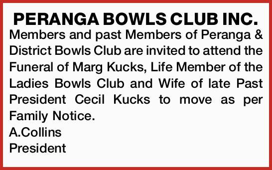 PERANGA BOWLS CLUB INC.   Members and past Members of Peranga & District Bowls Club are i...