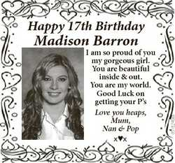 Happy 17th Birthday I am so proud of you my gorgeous girl. You are beautiful inside & out. You a...