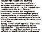 GYMPIE REGIONAL COUNCIL PROVISION OF GATEKEEPING AND RECYCLING SERVICES FOR WASTE MANAGEMENT FACILITIES REQUEST FOR TENDER 2016-2017-T012 Tenders are invited from suitably qualified and experienced contractors to provide professional gate keeping and recycling services at Council waste management facilities within the region. Documents are available from the Queensland Government QTender ...