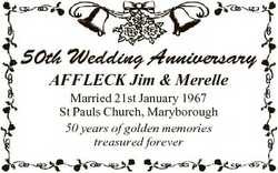 50th Wedding Anniversary AFFLECK Jim & Merelle Married 21st January 1967 St Pauls Church, Marybo...