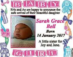 Eric and Ae are happy to announce the safe arrival of their beautiful daughter Sarah Grace Bell Born...