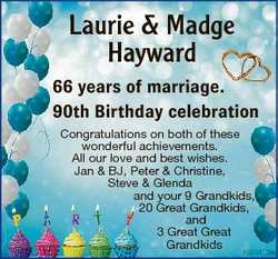 Laurie & Madge Hayward 66 6 years of marriage. 90 0th Birthday celebration Congratulations on bo...