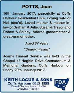 POTTS, Joan 16th January 2017, peacefully at Coffs Harbour Residential Care. Loving wife of Neil (de...