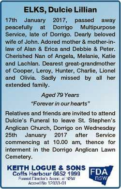 ELKS, Dulcie Lillian 17th January 2017, passed away peacefully at Dorrigo Multipurpose Service, late...
