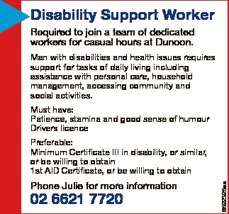 Disability Support Worker   Required to join a team of dedicated workers for casual hours at...