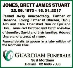 JONES, BRETT JAMES STUART 23. 06. 1970  16. 01. 2017 Passed away unexpectedly. Partner of Rebecca. L...