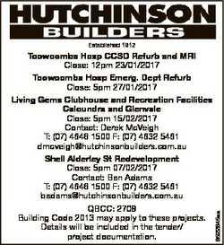 6522645aa Established 1912 Toowoomba Hosp CCSD Refurb and MRI Close: 12pm 23/01/2017 Toowoomba Hosp...