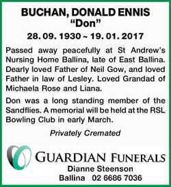 """BUCHAN, DONALD ENNIS """"Don""""   28. 09. 1930 ~ 19. 01. 2017   Passed away peacef..."""