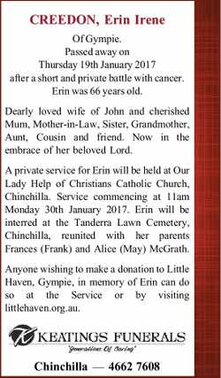 CREEDON, Erin Irene