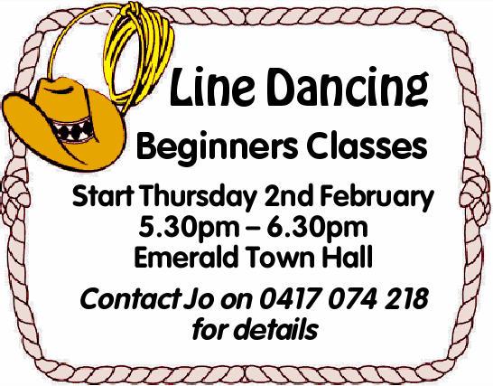 Line Dancing Beginners Classes    Start Thursday 2nd February 5.30pm – 6.30pm Emerald T...
