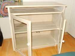 2glass doors.open shelf under top,ideal for trays bags etc.enamel knobs,87x41x76cm h