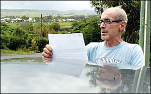 Lismore man John Crowther is contesting a speeding ticket, saying that details on the ticket are incorrect.