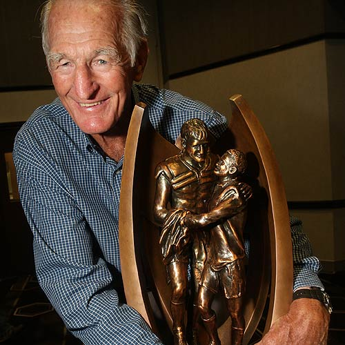 League legend Norm Provan with the NRL Premiership Trophy at Caloundra RSL. Cade Mooney/cm178784