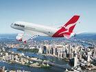 The Qantas Airbus A380 over Brisbane.