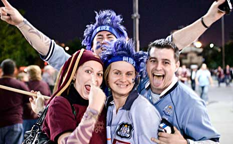 Fans show their colours at the State of Origin.